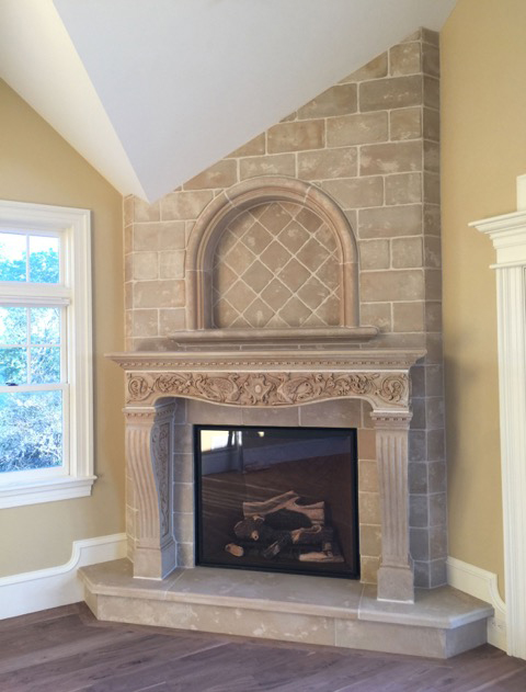 Vincenza Fireplace with custom overmantel