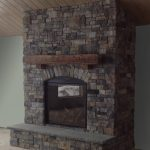 Rustic Fireplace Mantel using Ashlar and Ledgestone