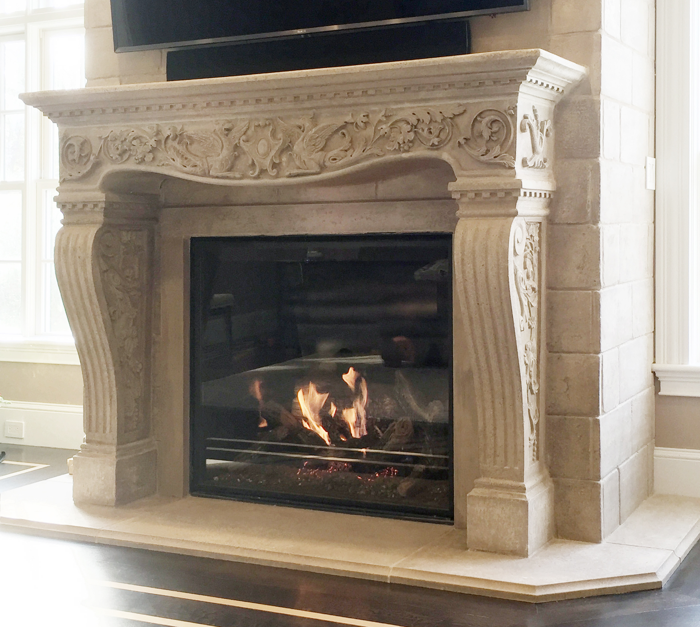 Vincenza Fireplace with Block Foot