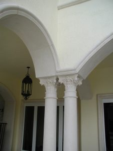 Harbor Island Corinthian columns and custom trimmed archways