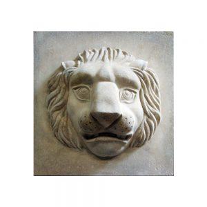 Square Lion Cast Stone Plaque