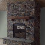 Rustic Fireplace Mantel using Ashlar and Ledgestone