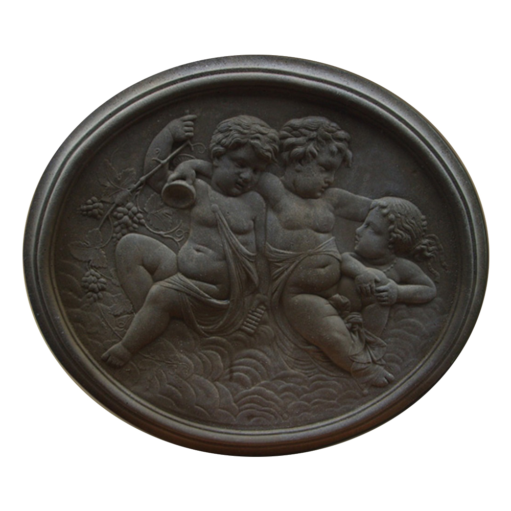 Cherub Cast Stone Oval Plaque